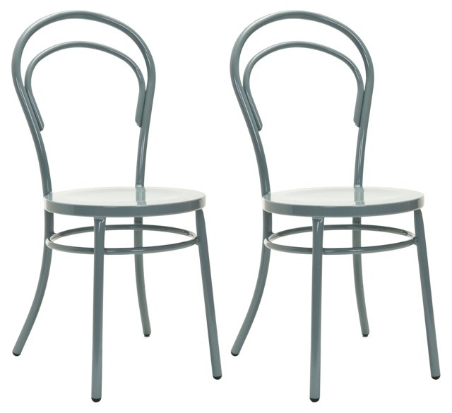 Gray Florence Side Chairs, Pair