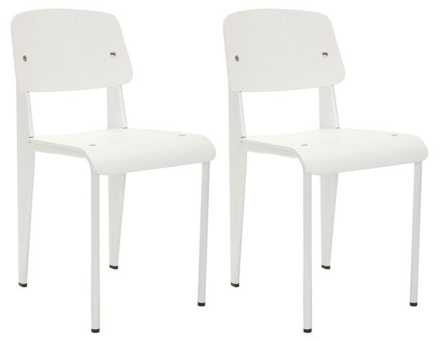 White Ashlee Side Chairs, Pair