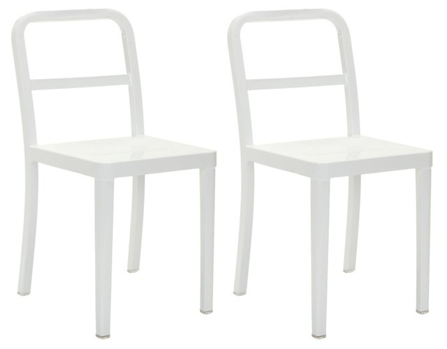 White Evelyn Side Chairs, Pair