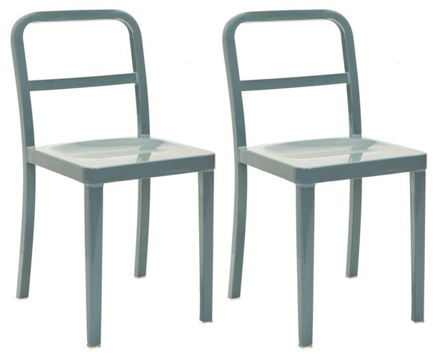 Gray Evelyn Side Chairs, Pair