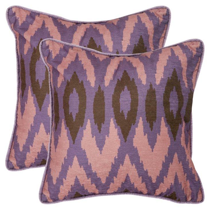 Set of 2 Easton 22x22 Pillows, Lavender