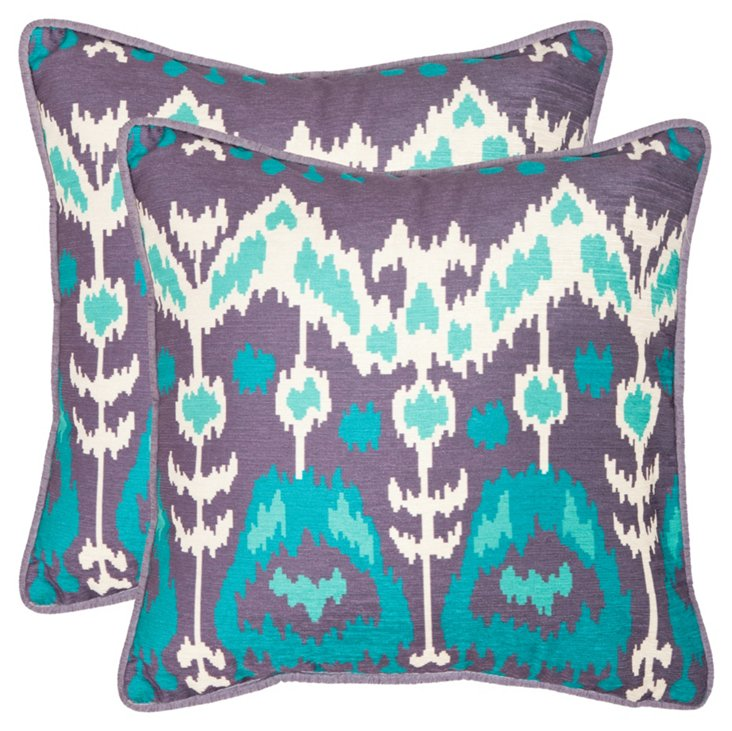 S/2 Manhattan 20x20 Pillows, Teal/Purple