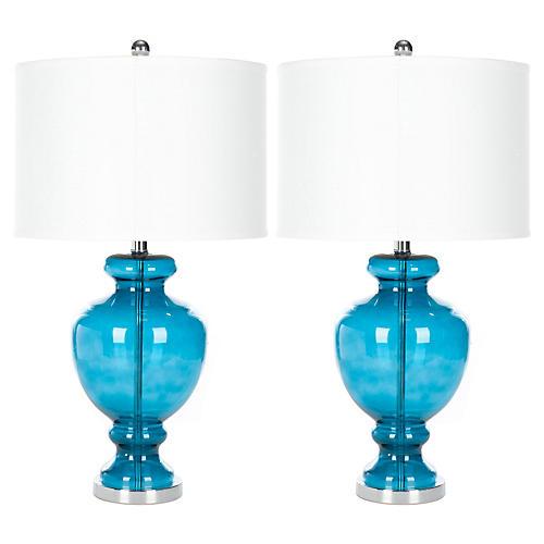 Cecilia Lamp Set, Turquoise