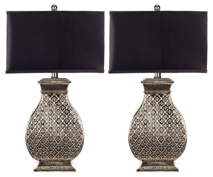 Verity Table Lamp Set, Silver