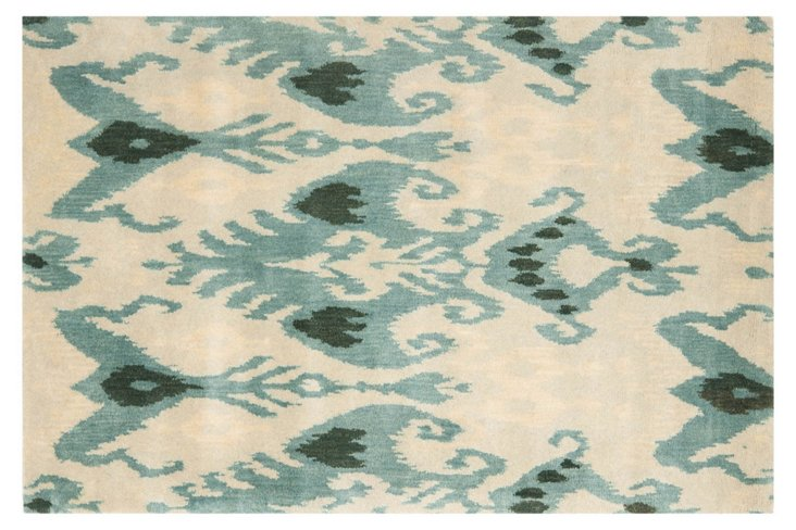 Palmona Ikat Rug, Cream/Blue