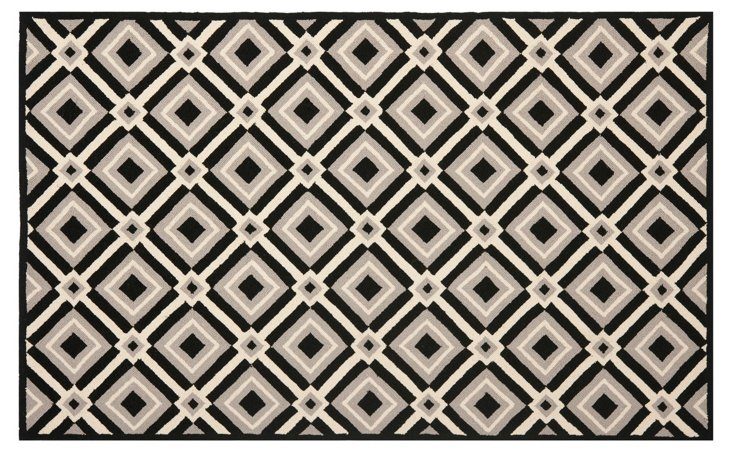"""2'6""""x4' Caloote Outdoor Rug, Black/Taupe"""