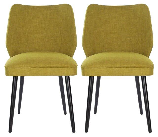 Ochre Ethel Dining Chairs, Pair