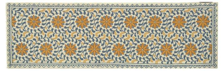 "2'6""x20' Tunisia Rug, Ivory/Blue/Gold"