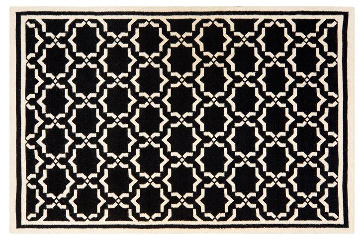 Geneva Dhurrie, Black/Ivory