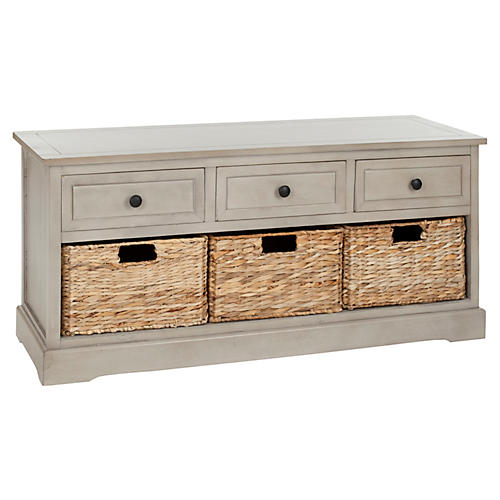 Arlington 3-Drawer Storage Bench, Taupe