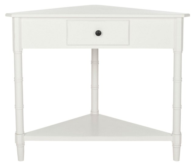 Geneva Corner Table, White