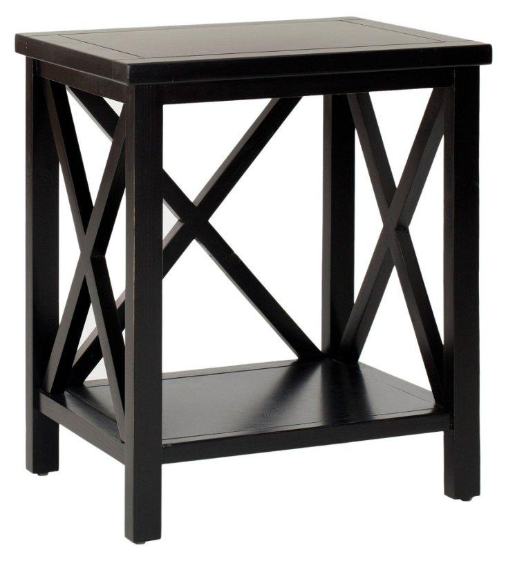Lucas Cross-Back End Table, Black