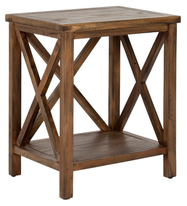 Lucas Cross-Back Side Table, Walnut