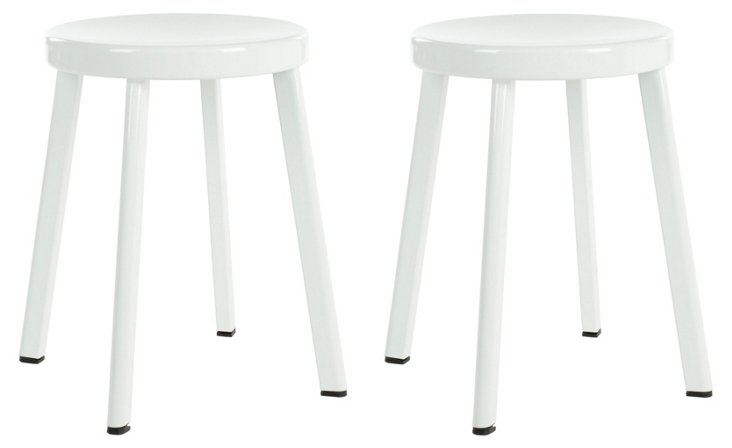 White Northbrook Stools, Pair