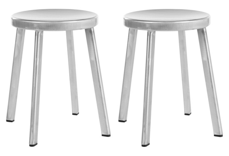 Silver Northbrook Stools, Pair