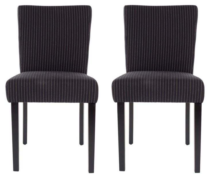 Pinstripe Benton Dining Chairs, Pair