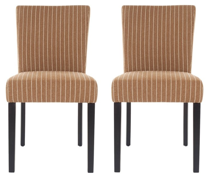 Tan Benton Dining Chairs, Pair