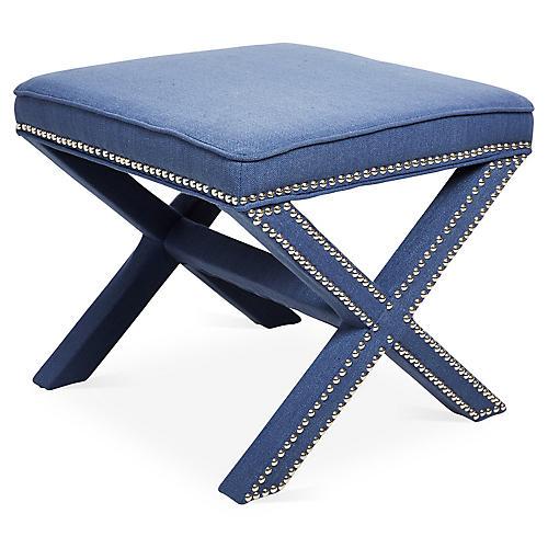 Palmer Ottoman, Blue/Silver