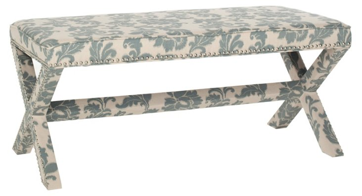 Emerson Bench, Blue/Cream