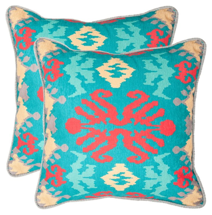 S/2 Ikat 22x22 Pillows, Aqua/Red