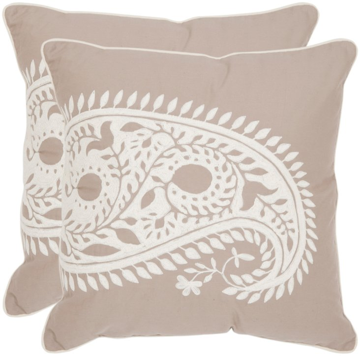 S/2 Paisley 20x20 Pillows, Natural
