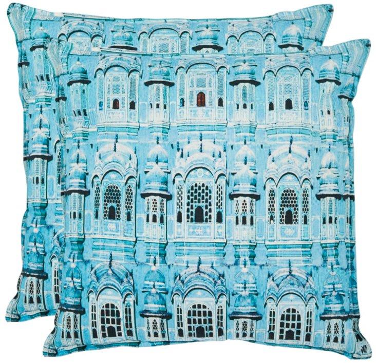 S/2 Verona Cotton Pillows, Turquoise