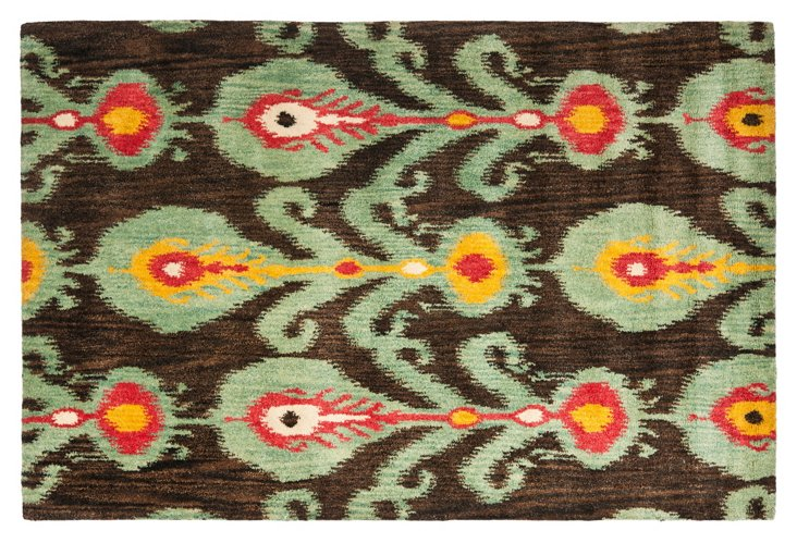 3'x5' Calder Rug, Charcoal/Jade