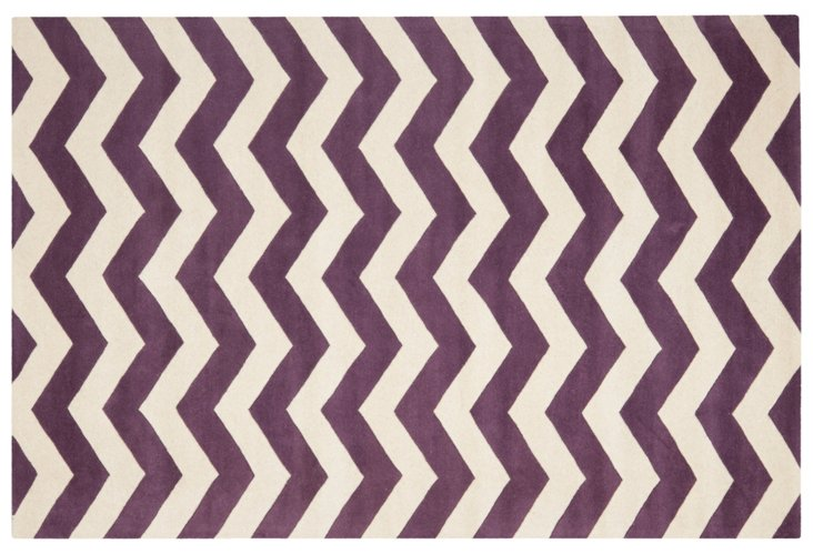 Erwin Rug, Purple/Ivory