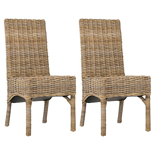 Woven Murphy Side Chairs, Pair