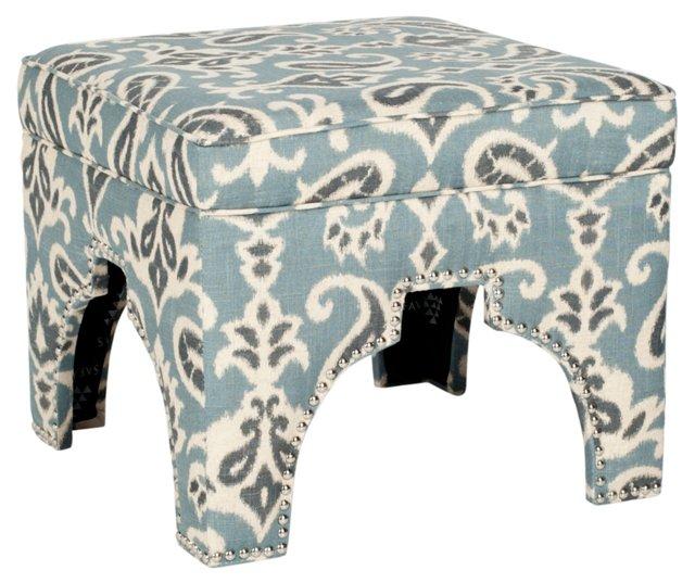 Pearce Ottoman, Blue/Charcoal