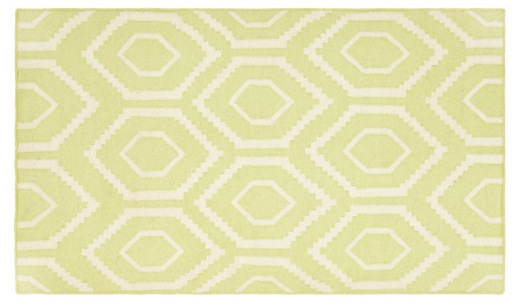 5'x8' Ampara Dhurrie, Lime/Ivory