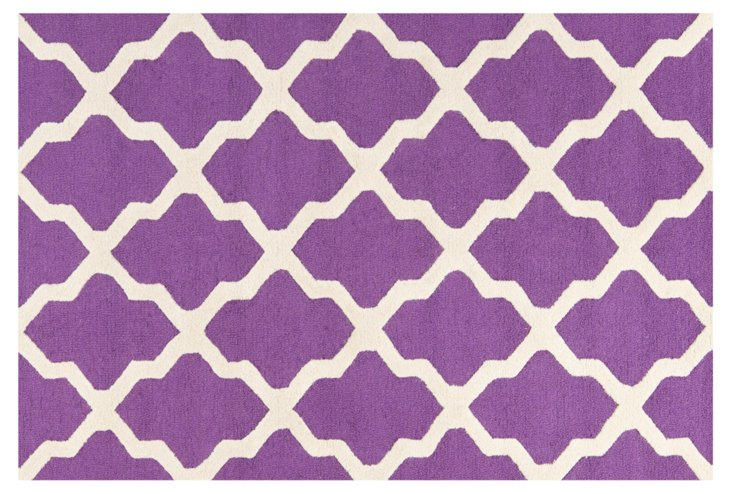 Mulberry Rug, Purple/Ivory