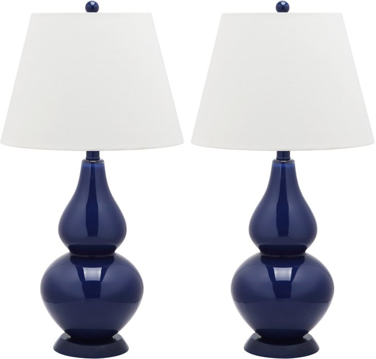 Angela Table Lamp Set, Navy Blue