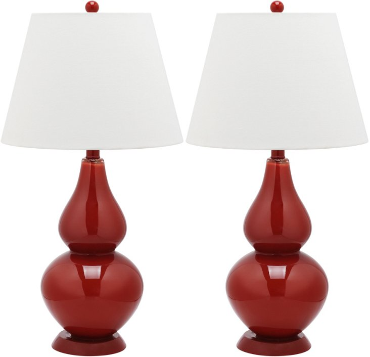 Angela Table Lamp Set, Red