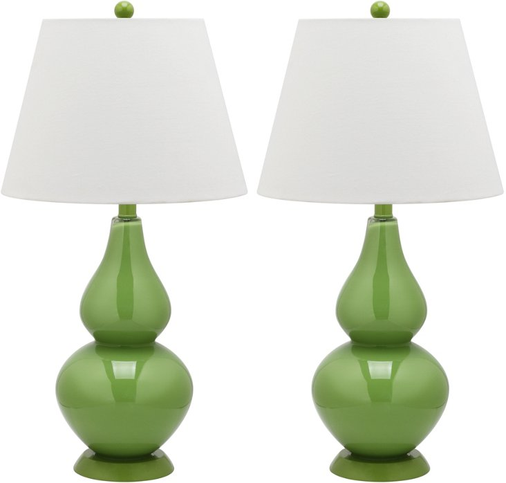 Angela Table Lamp Set, Green