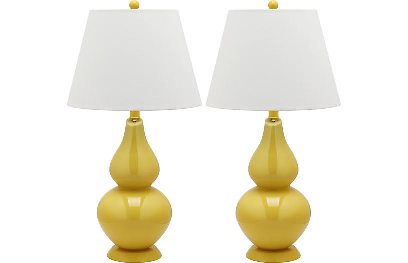Angela Table Lamp Set, Yellow