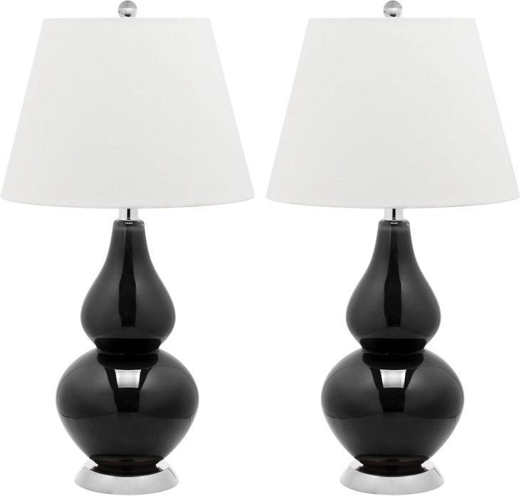 Angela Table Lamp Set, Black
