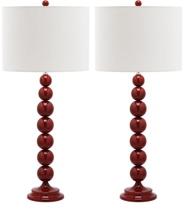 Knot Table Lamp Set, Red