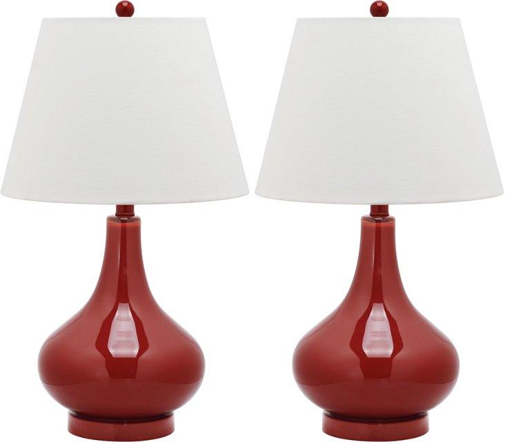 Samantha Table Lamp Set, Red