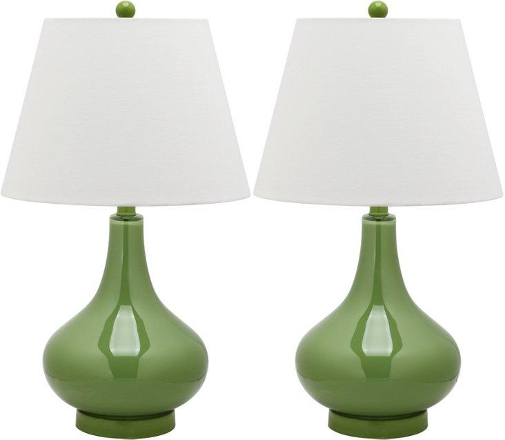 Samuels Table Lamp Set, Green