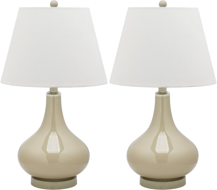 Samuels Table Lamp Set, Beige