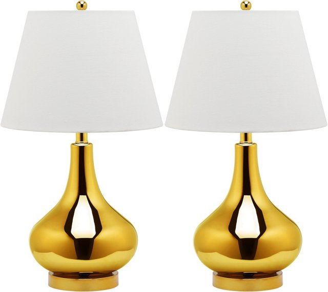 Samuels Table Lamp Set, Metallic Gold