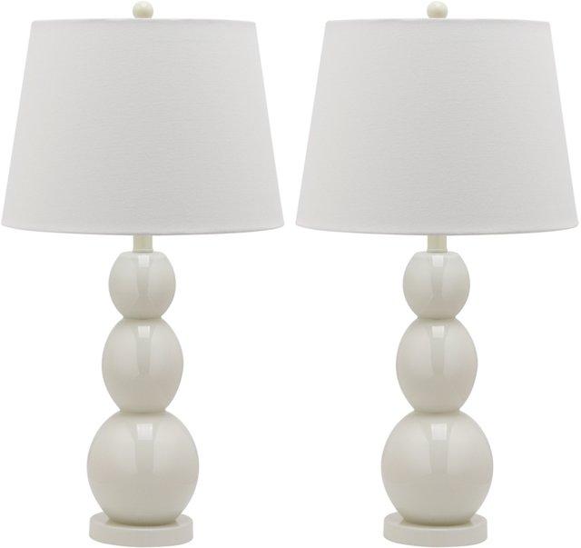 Brenna Table Lamp Set, White
