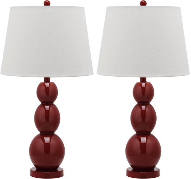 Brenna Table Lamp Set, Red