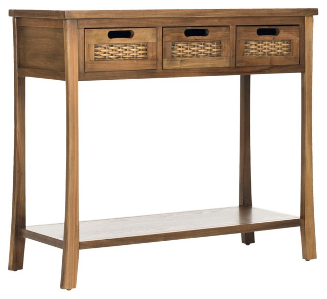 Lincoln 3-Drawer Console, Light Walnut