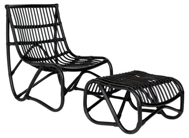 Simon Chair & Ottoman, Black