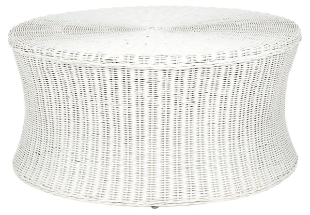 Candace Cocktail Ottoman, White