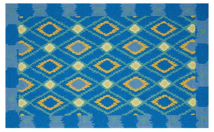 """3'6""""x5'6"""" Caley Outdoor Rug, Bright Blue"""
