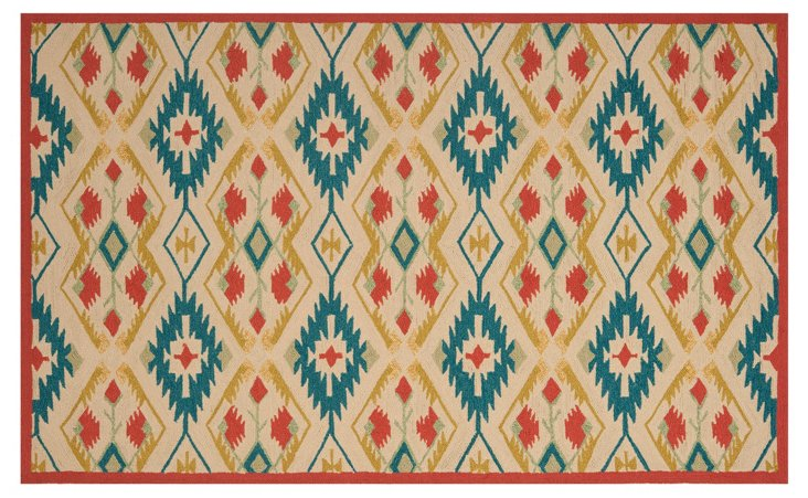 Numi Outdoor Rug, Tan/Teal/Red