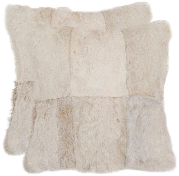 S/2 Patchwork 16x16 Pillows, Cream
